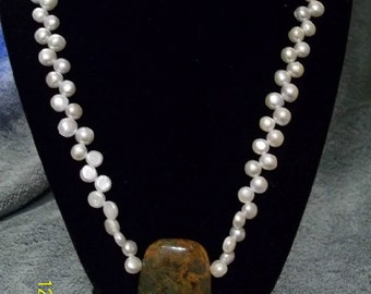 Pearl and opal necklace