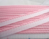5 Yards Vintage 7 mm White Woven Trim with Light Pink Edge