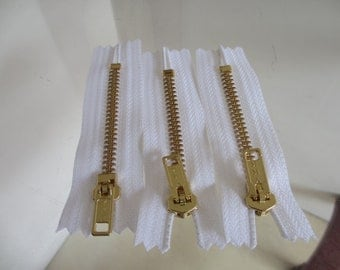 3 New 3 Inch YKK  Brass White Jean Zippers with Closed Bottom