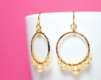 Beautiful Handmade Hammered Hoop Earrings with Wire-wrapped Pearl Swarovski Crystals