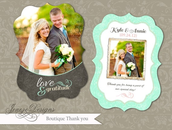 Luxe Wedding Thank You Card Template - INSTANT DOWNLOAD - Item TC014