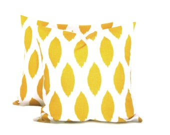 Accent Pillow.16x16 inch .Decorator Pillow Cover.Yellow Pillow Printed Fabric front and back.Yellow Ikat.Spots.