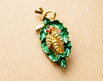 Holly Pinecone Pin Brooch Vintage Enameled Signed Gerry