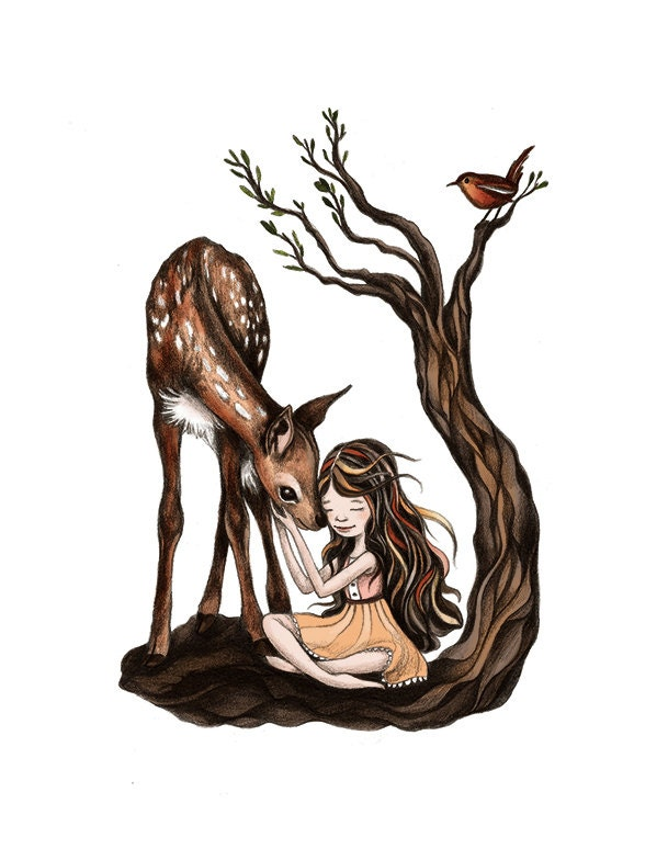 Deer Woman Drawing Best friends deer girl