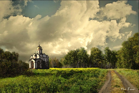 """Lonely church. Painting on Giclee Canvas 16""""x20"""" with mat frame. By the Artist"""