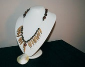Necklace with Paper Beads, Seashells and Semiprecious Stones - Eco Friendly - One of a Kind