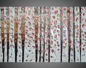 Birch Tree Painting with Copper Abstract Acrylic Painting on Canvas Forest Landscape Textured Brown Bronze 3D Art Deco 48 x 24 Made to Order