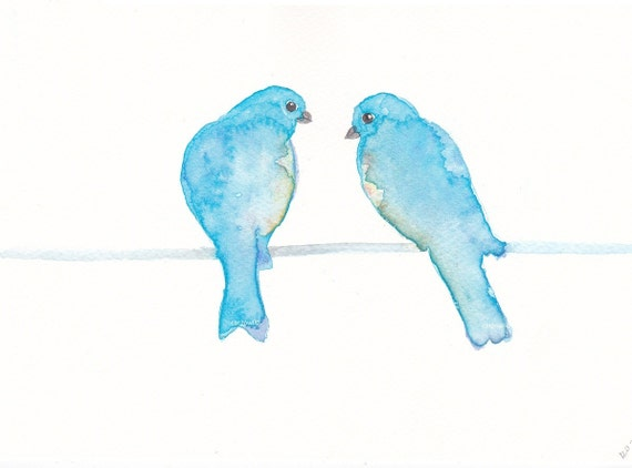 Blue Birds on a wire - ORIGINAL WATERCOLOR PAINTING 8 by 5