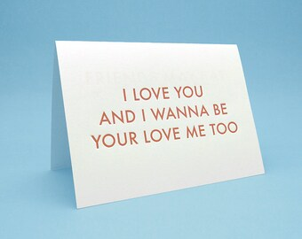 I Love You Card w/ Envelope - 5x7 debossed - Your love me too