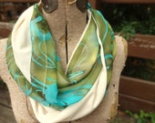 Green/blue infinity scarf with ivory - one of a kind