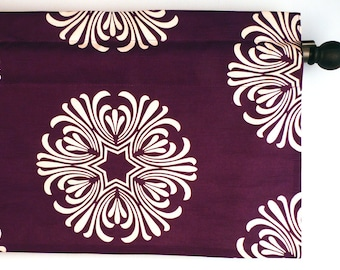Plum Valance Kitchen Curtain Floral Design Fabric by Duralee (curtain rod not included)