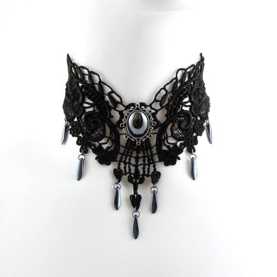 Black Venetian Lace Choker Necklace with Hematite Stone and Drops (gothic, goth, jewelry, romantic, women, bib, renaissance, victorian)