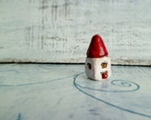 "Small house magnet folk art house miniature house red and white 1.4"" shabby chic rustic"