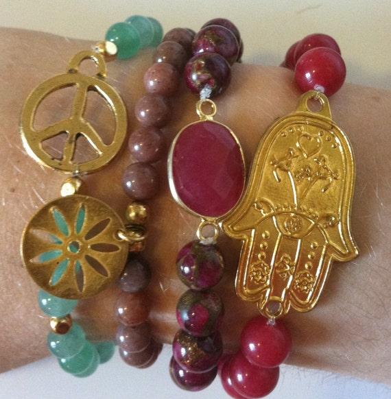 Plum Jade Flower Charm Bracelet