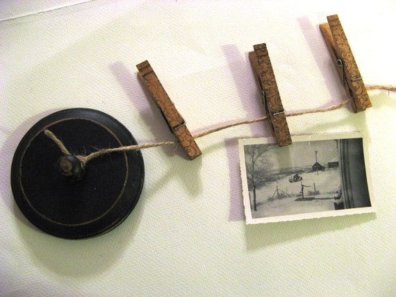 Industrial Chic Clothespin Photo Display Black