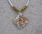 Gold Rush - Gold Foil Glass Pendant and White Glass Pearl Necklace