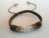SAVE 25% Pave Swarovski Crystal Shambala Style Friendship Bracelet Brown & Silver Crystals