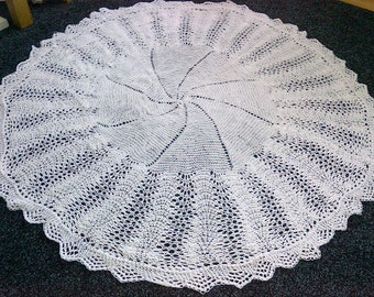 Hand Knitted Christening Shawl FREE UK SHIPPING