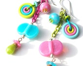 SALE! Happiness has Wings-handmade lampwork glass mixed-media earrings in lime green turquoise and rose pink