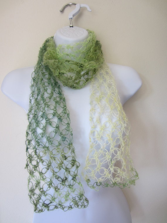 LOVE KNOT SCARF. Summer Scarf in Shades of Green.