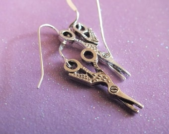 Goose Scissors, Scissor Jewelry -Sterling Silver Earrings with a knitting, sewing, quilting theme