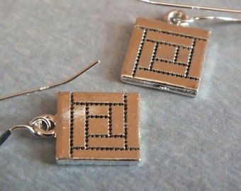Quilt Jewelry  - Sterling Silver Earrings with a knitting, sewing, quilting theme - Log Cabin