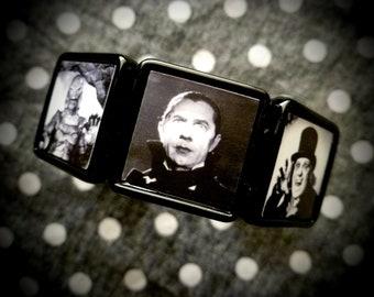 Black & White Horror collage bracelet