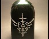 Hylian shield and Master sword design on a Jägermeister bottle