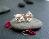 Herkimer Diamond Studs Earrings - ROSE GOLD Filled Wire-Wrapped - Special Sparkling Gem Earrings.