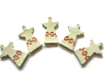 SALE Christmas Ornaments Ceramic Angel Wedding Decoration Lace Pottery Set of 5