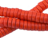 100 pc Nature wood disc beads 8 mm red orange