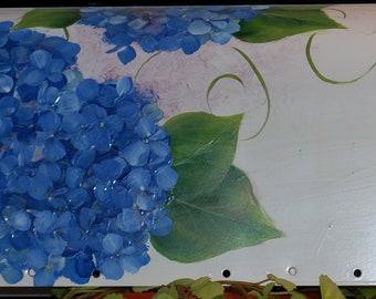 Hand Painted Blue Hydrangea Mailbox on White