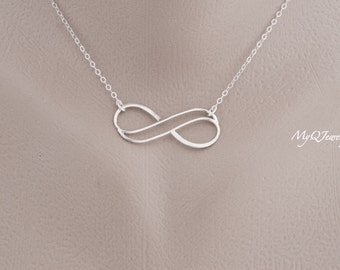 SILVER Double Infinity Necklace, Bridesmaid Necklace, Eternity Necklace, Sister Necklace, Best Friend, Sister Jewelry, Wedding Jewelry Gift