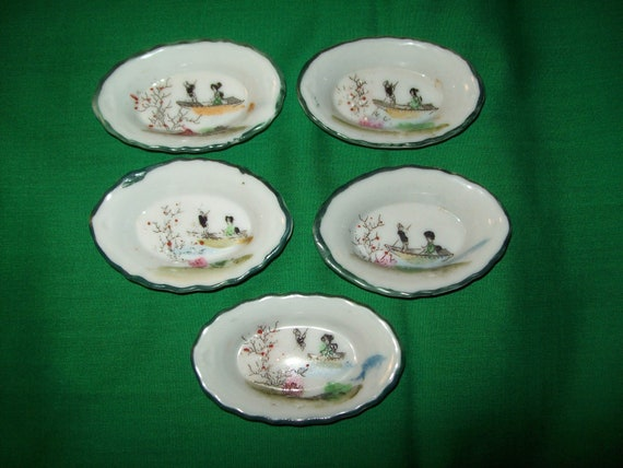 Five (5), Hand Painted, Japanese Porcelain, Open Salt Cellars.