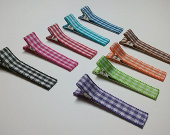 12 Lined Gingham Alligator Clips -- You Pick Color (QUICK TO SHIP)