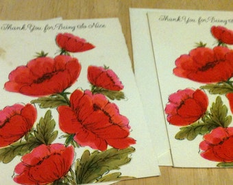 Vintage Thank You Notes - Flowers - 2 Cards