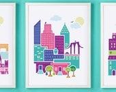 Paris, London & NYC Wall Art HOLIDAY SPECIAL Set Of Three Prints