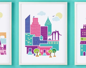 Paris, London & NYC Wall Art HOLIDAY SPECIAL Set Of Three Prints