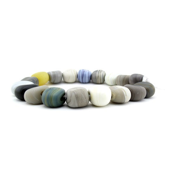 Handmade beach pebbles beads - DIY bracelet kit - beach stone jewelry