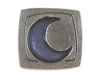 Danforth Blue Crescent Moon 5/8 inch ( 16 mm ) Pewter Metal Button