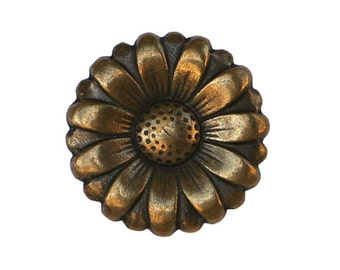 6 Morning Flower 11/16 inch ( 18 mm ) Metal Buttons Brass Color