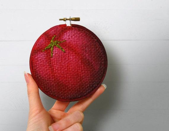 Tomato Kitchen Wall Art, Painted Burlap, Embroidery Hoop Art, Fabric Wall Art, Hand Sewn Textile Art, Mixed Media Painting, Fiber Art