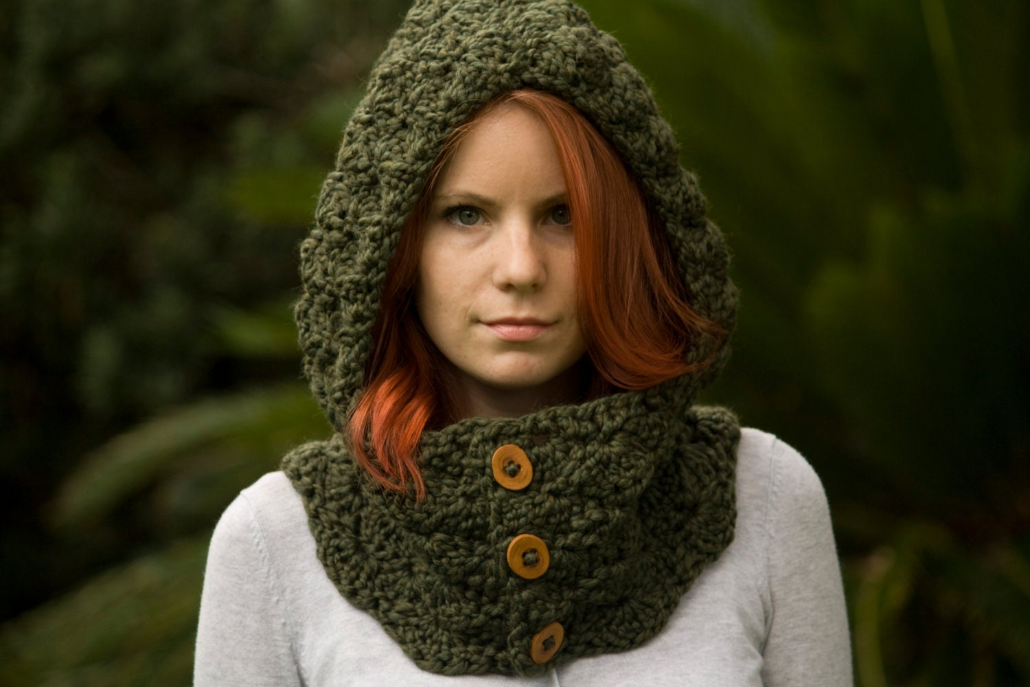 Crochet Unicorn Hooded Scarf Pattern : Hooded Cowl Wood Button Crochet hooded scarf Olive by WellRavelled