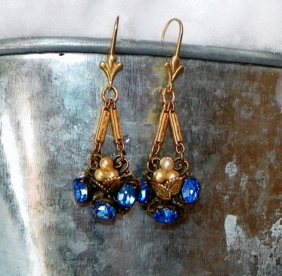 Vintage 40's Cobalt Blue West Germany Earrings, Artisan Designed