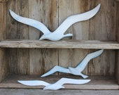 Aqua  White Gold Shabby Chic Seagulls In Flight - Vintage Decor for Cottage Beach House Garden Patio Home Decor