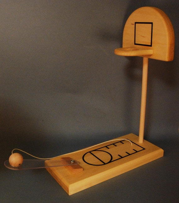 Paddle-Hoop hand crafted reclaimed wood desktop basketball game.