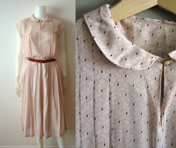RESERVED for amandawomack: Pretty Peach - Vintage 70s Pleated Semi Sheer Printed Secretary Light Flowy Summer Dress