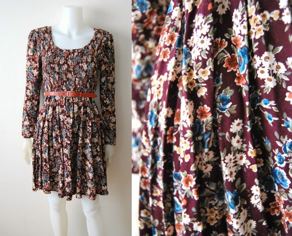 Country Chic - Vintage 80s 90s Grunge Floral Summer Sun Dress