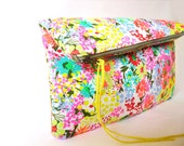Neon Clutch purse, fold over,  Flower pattern.