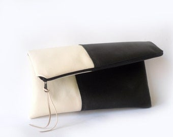 Foldover clutch purse ,Black and cream vegan leather